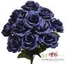 """12 x Navy Blue 4"""" Open Roses Artificial Silk Wedding Flowers Bouquet Centerpiece"""