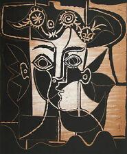 PICASSO Frauenkopf mit geschmücktem Hut - LICHTDRUCK von Linolschnitt -RARITÄT