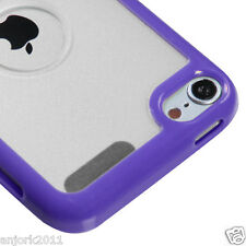 Apple iPod Touch 5 Hybrid Case Gummy Cover Accessory Purple Clear