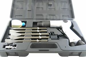 "9PC AIR HAMMER SET  Speed: 3,500 RPM. 5pc 3/8"" Shank Chisels"