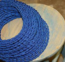 BLU ELETTRICO intrecciata PANNO covered wire, stile vintage lampada Cavo, antico