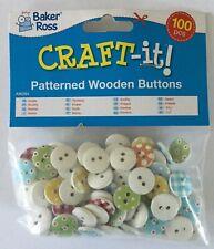 Baker Ross 100 pk vintage patterned wooden buttons 15mm