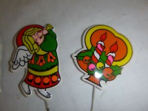 7 NOS Vtg 70s MOD Vinyl Puffy Pick Decorations Groovy Angel Candle Taiwan