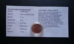 Vatikan ° 1 Cent 2010 ° Mit Zertifikat °