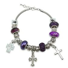 Purple Crystal & Glass Cross Charm Bracelet