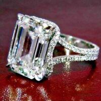 Certified 4.00Ct White Emerald Diamond Engagement 14K W.Gold Design Ring Set