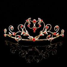 Rosa Herz Hochzeit Braut Haarschmuck Haarreif Kommunion Krone Diademe Gold Tiara