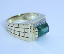 Vintage Damenring mit Smaragd & Diamanten / 585er Gold 14Karat / 57 (18,1 mm Ø)*