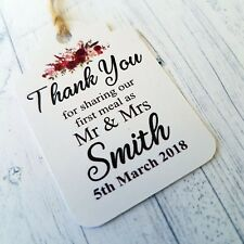 Personalised Wedding Tags Thank You For Sharing Our First Meal Favour Boho Tags