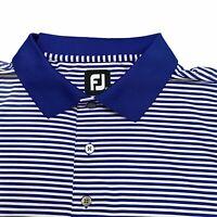 Footjoy Golf Polo Shirt Men's XL Performance Short Sleeve Blue and White Striped