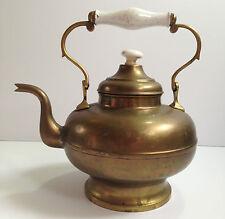 """Antique Large Brass Metal Tea Kettle w Porcelain Handle/Knob 12""""t Rare Vintage"""