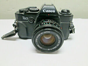 Canon T60 35mm Film SLR Camera w/ FD 50mm F1.8 Lens