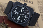 New Men's Black Steel Automatic Mechanical Rubber Strap Square 46mm Bell watch