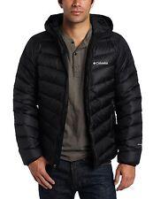 Columbia Men Winter Hooded Down Jacket Coat Parka L Black New ski