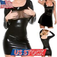 Women PU Leather Bodycon Short Mini Vest Dress Sexy Clubwear Lingerie Miniskirt