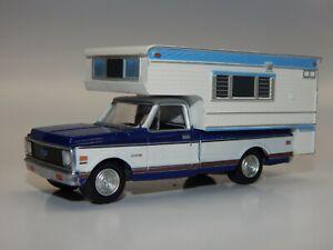 Greenlight 1/64 scale 1972 Chevrolet C10 Slide In Camper RV Blue & White VHTF