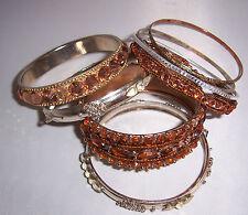 8 Sparkling Diamante Bead Silver Amber UNWORN Vintage Bangles Bracelets