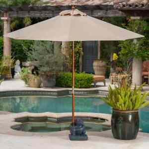 Patio Umbrella Stand 13.78 in. W x 15.75 in. H Adjustable Height Concrete Gray