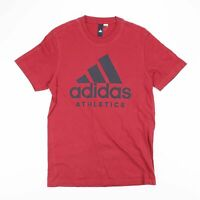 ADIDAS ATHLETICS Burgundy & Black Big Logo Sports T-Shirt Size Men's Small