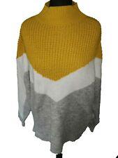 YELLOW WHITE GREY SOFT WARM WINTER POLO NECK JUMPER - UK Size 14