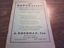 VINTAGE - THE NATURALIST - J. GOODMAN NYC - CATALOG OF TEAS & LIQUID BOTANICALS