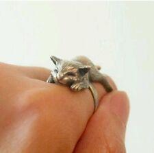 Sleepy Cat wrap ring animal rings silver gift girlfriend cute Kitten Adjustable