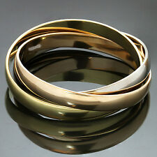 Authentic CARTIER Trinity 18k Tri-Gold Large Model Bangle Bracelet. Box