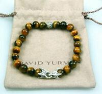 "David Yurman Sterling Spiritual 8mm Tigers Eye Waves Bead Bracelet Size 8.50"""
