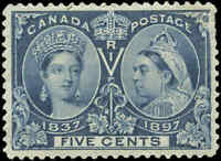 1897 Mint H Canada F-VF Scott #54 5c Diamond Jubilee Stamp