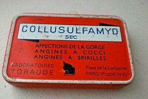 ancienne boîte Pastilles COLLUSULFAMYD sec Labo. Toraude médicament, pharmacie