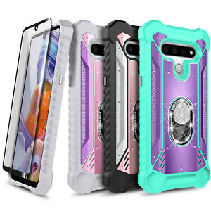 For LG Stylo 6 Case Full Body Ring Stand Phone Cover + Tempered Glass Protector