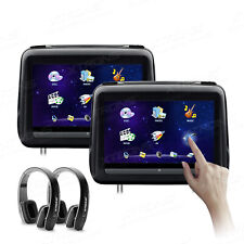 """2pcs 10.1"""" Car Headrest DVD Player Touch Screen Monitor with Cover +2 Headphone"""
