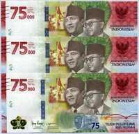 INDONESIA 75000 75,000 RUPIAH 2020 75th COMM. P NEW UNC LOT 3 PCS