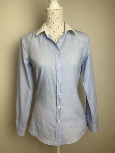 SPORTSCRAFT Size 10 Button Up Shirt Long Sleeve Blouse Blue White Cotton