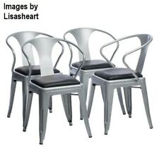4 Tabouret Black Leather Seat Silver Stacking Dining Side Chairs Party Poker SET