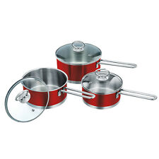 3pc Saucepan Set Stainless Steel Cooking Sauce Pan With Lid Induction Pot Red