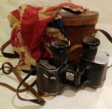 99p No Reserve!! Military WW1 era Binoculars cased & a old Union Jack hanky
