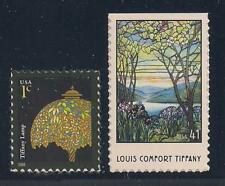 LOUIS COMFORT TIFFANY   LAMP / STAINED GLASS   SET OF 2 STAMPS   MINT  CONDITION