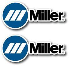 2X MILLER DECAL STICKER 3M US MADE TRUCK HELMET VEHICLE WELDER TOOLBOX MECHANIC