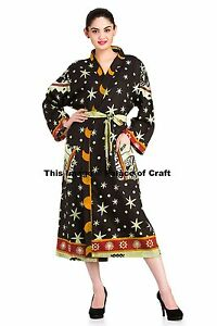 Astrology Mandala Robe Indian Cotton Gown Kimono One Size Sleepwear Bikini Cover