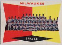 1960 Topps #381 Hank Aaron EX-EXMINT Warren Spahn Milwaukee Braves FREE SHIPPING