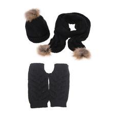 Women's Soft  Autumn Winter Knitted Hat Glove And Scarf Set (Jelinda) (Black)