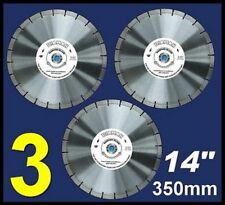"3x 14"" Diamond Blades 14mm high segments for Concrete Brick Tile saw cut etc"