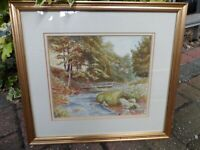 Framed William Maitland Watercolour Painting Treescape, River & Bridge Teesdale