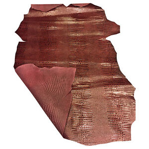 Craft Leather Hides Burgundy Snakeskin Print Upholstery Material DIY Fabric F959