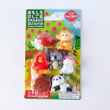 """Iwako Eraser Animals Japan """"Animals In Forest"""" Set of 7P"""