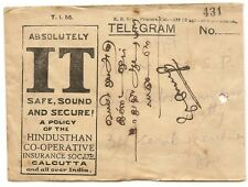 India 1933 advert telegram envelope HINDUSTAN INSURANCE with contents