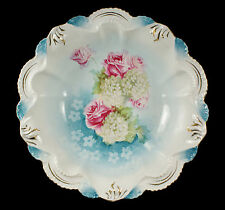 RS PRUSSIA Red Mark Large Scalloped Bowl Roses & Snowballs Pattern Pink Roses