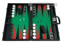 """Wycliffe Brothers 23"""" Backgammon Set, 1.75"""" Nickel Checkers - Black / Green"""