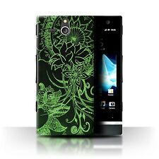 Case/Cover Sony Xperia U/ST25i / Henna Paisley Flower / Black/Green